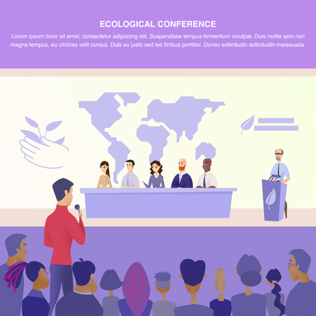 Flat Illustration Guy Asks Group Speaker Question. Banner Vector Illustration Worldwide Nature Protection Specialist. Holding an Ecological Conference. Communication with Group Journalist  イラスト・ベクター素材