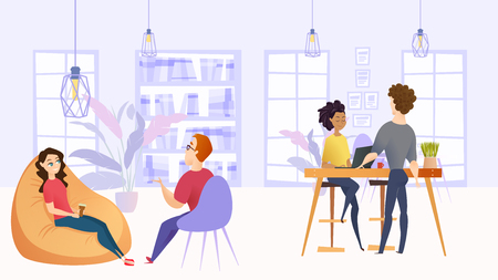 Illustration Working Environment in Company Office. Vector Image Workspace Group People Employee Company. Smiling Girl with Coffee Talks to Guy Sitting in Chair. Girl Working Laptop Consults with Man