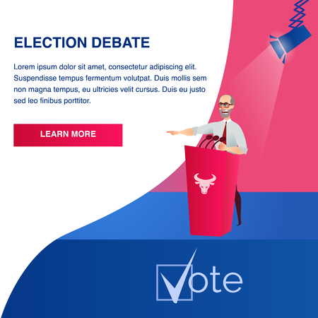 Flat Illustration Potential Presidential Candidate. Banner Vector Presentation Political Company at Election Debate. Stage for Speaker with Red Podium. Spotlights Aimed. Decide for whom Give your Vote Çizim