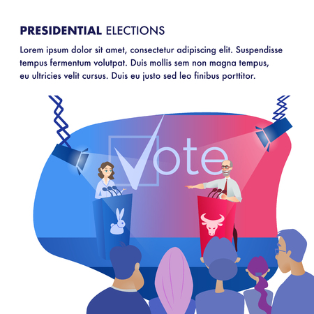 Illustration Two Candidat Presidential Elections. Banner Vector Group People are Watching Debate Man and Woman from Scene. Decide for whom Give your Vote. Multicolored Tribune with Microphone.
