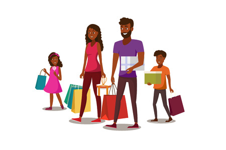 Happy Family Shopping Flat Vector Concept with African-American Father, Mother and Children Carrying Packets and Gift Boxes Illustration Isolated on White Background. Parents Buying Goods with Kids