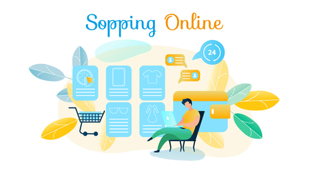 Vector Illustration Man Produces Shopping Online. Image Guy Making Purchase in Online Store Using Laptop. Purchase Clothe, Accessorie, Gadget, Food Without Leaving Home 24 Hours Day Without Day Off Ilustrace