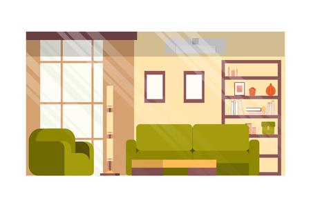 Acogedora sala de estar o habitación de invitados, salón de la casa en el interior del vector plano de diseño minimalista con cómodo sofá y sillón, libros y elementos de decoración en el estante, pinturas o marcos de fotos en la ilustración de la pared