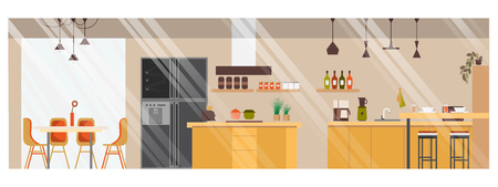 Modern Spacious Kitchen Panoramic Flat Vector Interior with Desk and Chair in Dinning Zone, Side-to-Side Doors Fridge, Island in Middle and Various Contemporary Appliances on Counter Illustration. Archivio Fotografico - 125882291