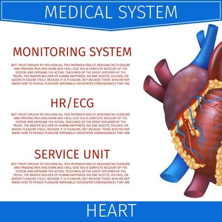 Realistische Vektor-Illustration Medizinisches System Herz. Banner Bildprojektion Anatomie Herz. Poster für detaillierte Studienstruktur kardiovaskulärer Systemorganismus. Isoliert auf weißem Hintergrund