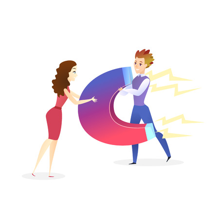 Young Beautiful Woman Attracting Man with Magnet, Girl Using Personal Ability to Attract and Charm People, Businessman and Businesswoman Characters Working Together Vector Illustration Ilustração