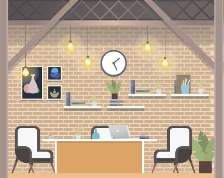 Creative Coworking Workspace Company, Cozy Office. Light Open Space Interior Design. Shared Work Area with Office Furniture, Laptop for Freelance Business. Flat Cartoon Vector Illustration