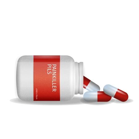 Bild Verpackung Schmerzmittel Pils Weißer Hintergrund. 3D-Vektor-Illustration Infografik Medikamente liegen Tablet neben Pille zu verpacken. Behandlung von rheumatischen Erkrankungen. Isoliert. Rheumatologe Rezept