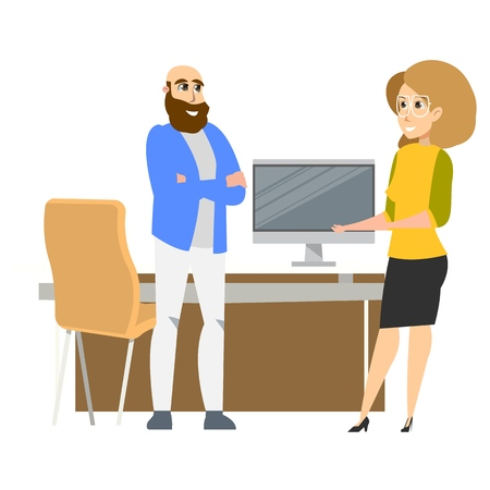 Freelance Business Character Standing at Workplace. Successful Female Office Clerk Wearing Glasses. Smiling Man Freelancer in Informal Outfit by Desk. Flat Cartoon Vector Illustration