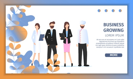 Different Business Character Job Fair Banner. Career Professional Happy Choice. Manager Woman, Female Doctor, Pilot Man and Restaurant Chef Pose for Occupation Banner Flat Cartoon Vector Illustration Illustration