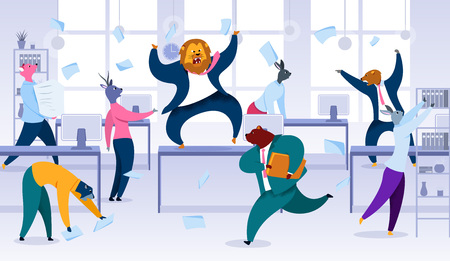 Chaos in Office, Project Deadline, Losing Control Flat Vector Concept. Angry Roaring Lion Boss Standing on Desk in Middle of Noisy Office Full of Nervous and Stressed Animal Characters Illustration