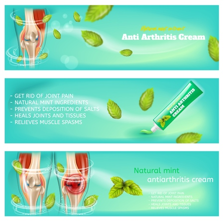 Realistic 3d Image Medical Pain Medication Gel. Banner Set Illustrations Human Knee Anatomy, Tube Paste Anti Arthritis Cream, Natural Mint Antiarthritis Cream. Pharmaceutical Drug Treatment