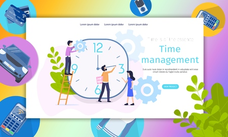 Business Project Time Management Character Banner. Teamlead Analyze Timeline Development. Male Decrease Job Search Duration. Female Control Execution Term. Flat Cartoon Vector Illustration