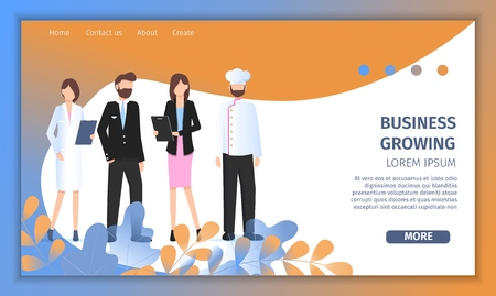 Various Business Character Growing Startup Service. Professional Manager Woman Work in Uniform. Female Doctor, Pilot Man and Restaurant Chef Pose for Banner Flat Cartoon Vector Illustration