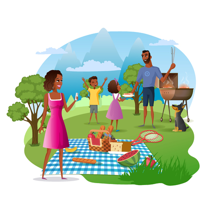 Family Picnic and Hike in Mountains Cartoon Vector Concept. African-American Father with Kids Cooking Meat on Barbeque Grill, Mother Taking Photos of Nature Illustration Isolated on White Background Standard-Bild - 117776362