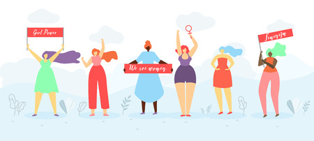 Women Rights and Girls Power Flat Vector Concept or Banner. Multinational Feminist Female Activist Standing Together, Holding Placards with Slogans, Fighting for Sexes and Gender Equality Illustration