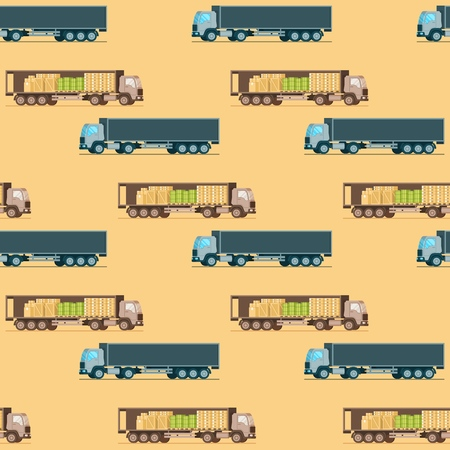 Storage Weight Delivery Truck Seamless Pattern. Side View of Express Shipping Van. Warehouse Mechanical Transport Item Collection. Goods and Freight Supply. Flat Cartoon Vector Illustration