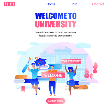 Welcome to University Square Banner with Happy Cartoon Students Meeting Beginners Holding Large Banners with Inscription Welcome You Student. Institute Building Background. Flat Vector Illustration Illustration