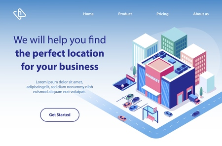 Commercial Real Estate Company Isometric Vector Web Banner, Landing Page Template. Shopping Center Building in Perfect Location of City District Illustration. Searching Property for Business Purposes