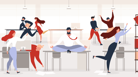 Keeping Calm at Workplace Flat Vector Concept with Businessman or Company Employee Meditating, Sitting in Lotus Pose on Desk in Middle of Noisy Office with Busy and Hurrying Colleagues Illustration Vectores