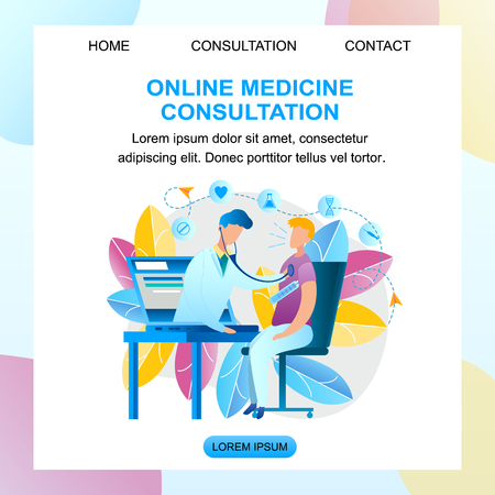 Illustration Online Medicine Consultation Doctor. Banner Vector Male Pediatrician Examines Patient with Laptop Monitor Screen. Guy Sitting Table Measures Temperature Body Thermometer. Pill, Syringe Vectores