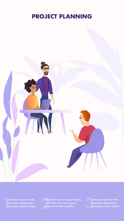 Vector Group People Gathered for Project Planning. Banner Illustration Company Workflow in Office. Guy Sitting in Chair Speaks to Man with Glasses and Girl Working Laptop, his Thought for Project Vettoriali