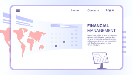 Computer Monitor and Huge Semicircular Screen with World Map and Information Inside Rectangle Frame. Financial Management Horizontal Banner, Mobile App Interface, Copy Space. Flat Vector Illustration.
