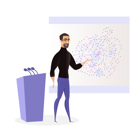 Flat Illustration Young Man Presenting New Product. Vector Bearded Guy in Glasses is Standing Stage Pointing with his Hand to Project Presentation Board. Tribune with Microphone for Speaker Иллюстрация