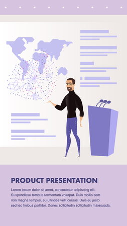 Flat Illustration Man Giving Presentation Speech. Banner Vector World Product Presentation. Conference Business Company to Preparation Product. Huge Screen and World Map Image. Stage for Speaker