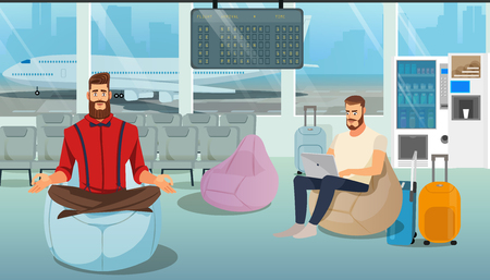 Airplane Passenger, Freelancer or Businessman in Business Trip Working and Resting in Airport Comfortable Lounge while Waiting for Flight Cartoon Vector Illustration. Airline Client Services Concept Vettoriali