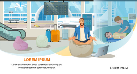 Modern Airport Lounge Flat Vector Horizontal Web Banner, Landing Page. Traveling People, Airline Passenger Resting in Airport Recreation Area with Massage Service while Waiting for Flight Illustration