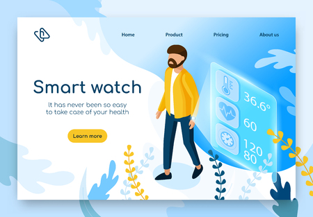 Patients Health Parameters Monitoring in Real Time with Smart Watch Isometric Vector Web Banner. Man Using Digital Gadget to Measure Body Temperature, Heartbeat Rhythm, Blood Pressure Illustration