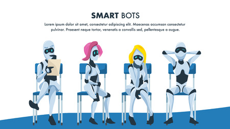 Robot Sit on Chair in Queue Wait for Job Interview. Pensive and Relaxed Artificial Intelligence with Resume. Male and Female Smart Bot Candidate. Office Recruitment. Cartoon Flat Vector Illustration