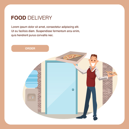Happy Coworker Hold Carton Pizza Box at Workplace. Food Delivery Service. Man Wear Informal Suit Plan to Have Slice of Junkfood for Office Lunch Break. Cartoon Flat Vector Illustration