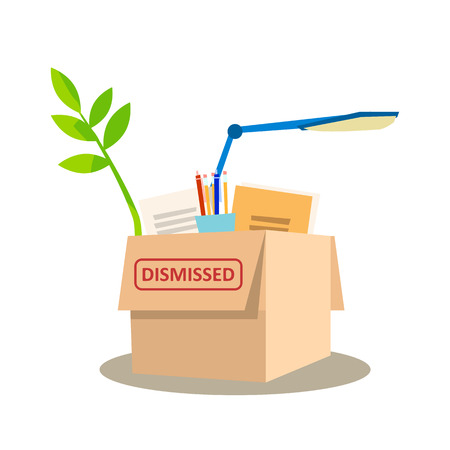 Cardboard Box Full of Personal Belongings. Get Fired. Dismissed Office Worker Stuff. Stationery, Lamp, Plant, Notebook, Document Property of Jobless. Flat Cartoon Vector Illustration