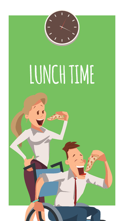 Young Woman and Disabled Man Eat Pizza at Work. Wheelchair Freelancer in Suit Have Lunch. Office Businesswoman with Slice of Italian Food Standing behind. Cartoon Flat Vector Illustration