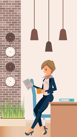 Woman in Suit Manager Lean on Table at Office. Female Character Read Paper. Businesswoman in Formal Wear Drink Coffee or Tea. Break at Work in Creative Coworking. Cartoon Flat Vector Illustration  イラスト・ベクター素材