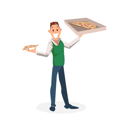 Smiling Office Worker Stand with Carton Pizza Box. Happy Young Businessman or Manager Plan to Have Slice of Italian Food for Lunch Break. Male Character Hold Package. Cartoon Flat Vector Illustration Vettoriali