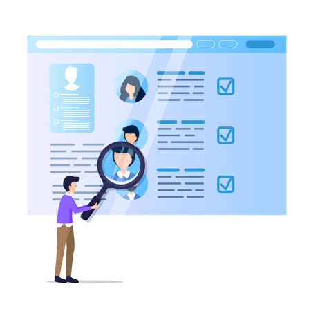 Man Hold Magnifier Monitoring Social Media Resume. Online Recruit on Laptop Screen. Display Data Analysis on Computer Monitor. Male Character with Magnifying Glass. Flat Cartoon Vector Illustration Ilustração Vetorial