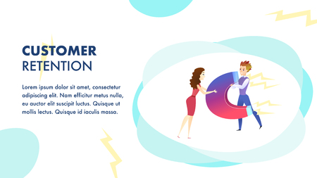 Customer Retention Website Vector Template. Customer Attraction. Marketing Campaign, Advertising Illustration. Business Development. Target ad Strategy. Companys Client Service Web Banner Concept  イラスト・ベクター素材