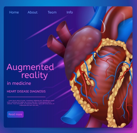 Vector Illustration Augmented Reality in Medicine. Banner Image Realistic Human Heart. Web Page Medical Clinic. Doctor Heart Disease Diagnosis. Modern Technologies Medical Treatment Patient Illustration