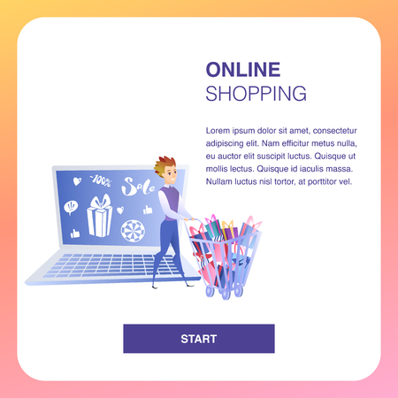Online Shopping Website Element Vector Template. Advertising Strategy. Business Development Flat Landing Page. Internet, Digital Marketing, E-Payment Illustration. Online Store Web Banner Foto de archivo - 125318058