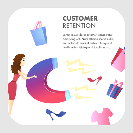 Customer Retention Website Vector Color Template. Target ad Strategy. Business Development. Marketing Campaign, Advertising Flat Illustration. Customer Attraction. Companys Client Service Web Banner