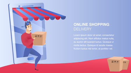 Online Shopping Delivery Website Element Template. Client-Oriented Service Landing Page. Man Delivering Ordered Items Flat Illustration. Business Advantages Concept. Online Store Web Banner