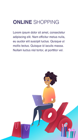Online Shopping Website Element Vector Template. E-payment Flat Illustration. Woman with Laptop Sitting on Percentage. Customer Loyalty. Client Benefits Concept. Online Store Web Banner Concept Foto de archivo - 125318072