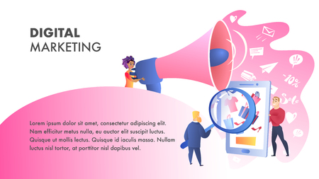 Digital Marketing Website Vector Color Template. SEO Advertising. Digital Media Landing Page. Television, Internet Network Flat Illustration. Internet, Print, Mobile Media, SEM Web Banner Concept