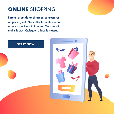 Online Shopping Website Element Vector Template. Internet Marketing, E-Payment Illustration. Man Holding Smartphone. Advertising Campaign. Gifts and Purchases. Online Store Web Banner Concept Foto de archivo - 125318076