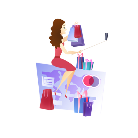 Online Shopping Website Design Element Template. E-Commerce Development. Happy Woman with Gifts and Packages. Making Selfie. Internet, Digital Marketing Illustration. Online Store Web Banner Concept Foto de archivo - 125318077