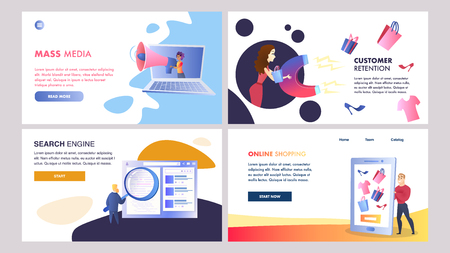 Online Marketing Set of Vector Color Templates. Online Advertising Strategy. Mass Media, Online Shopping, Search Engine, Customer Retention Walkthrough Steps Flat Illustration. UX, UI Interface