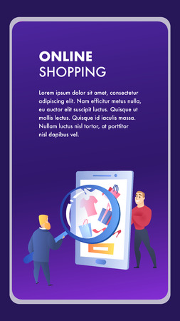 Online Shopping Website Element Vector Template. Internet Marketing, E-Payment Illustration. E-Commerce Flat Landing Page. Advertising Campaign. Customer and Seller. Online Store Web Banner Concept Illustration